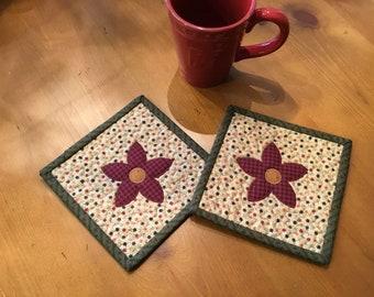 Flower Mug Rugs / Quilted Mug Rugs / Handmade / Spring Decor /Item #2396