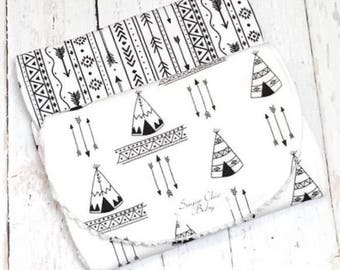 Burp Cloths for Baby Boy - Super Absorbent Triple Layer Chenille - Set of 2  -  B/W ARROWS & TEEPEES