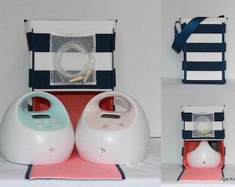 Half Size Ella style Spectra Breast pump bag in Navy Stripe