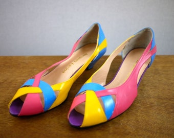 80s Colorful Pink Yellow Blue Flats