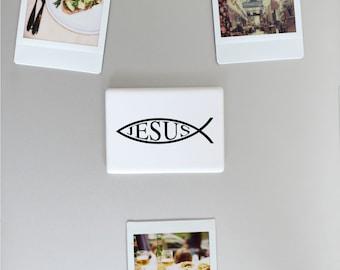 Ceramic Fridge Magnet, Jesus Fish Ichthys Christ Son of God Savior Christian Faith, Funny Fridge Magnets, Refrigerator Magnet, FM139