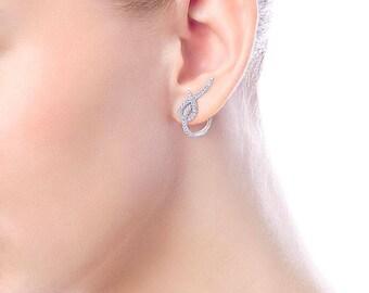 14K White Gold Huggie Earrings