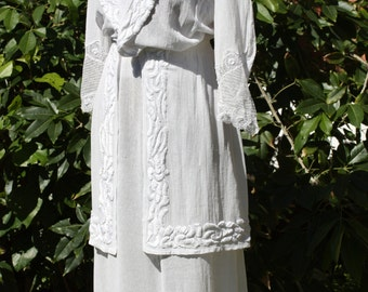 Vintage Edwardian Dress, 1900s, Downton Abbey,cotton dress, embroidered dress, vintage dress, lace, Wedding, boho, crochet, lace