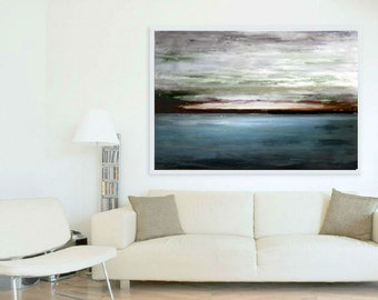 Landscape Painting, Oil Painting, Dawn over Lake, Rustic Wall Decor, Kitchen Wall Decor, Living Room Decor, Scotland,