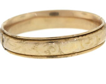 Edwardian Gold Filled Bangle, Victorian Engraved Antique Hinged Bracelet