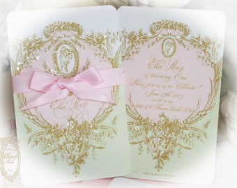 Marie Antoinette Cameo Laduree Inspired Mint Macaron Wedding, Tea Party, Save the Date, Shower, Engagement, Birthday, Christening