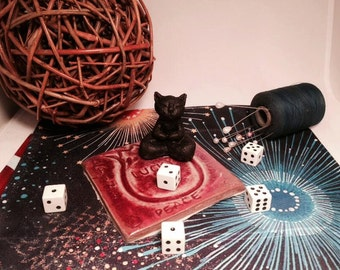 Buddha Cat Sculpture Lucky Cat Sculpture Good Luck Charm Witch Familiar Black Cat Zen Kitty Goddess Gift Wicca Altar Pagan Art Lucky Charm