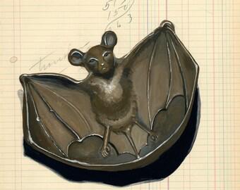 Giclée Print Bat Calling Card Tray in Gouache