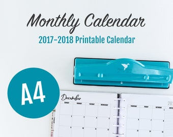 A4 Monthly Calendar, A4 Calendar 2018, A4 Bujo, A4 Bullet Journal, A4 Calendar, Monthly Planner Pages, A4 Monthly Calendar 2018, A4