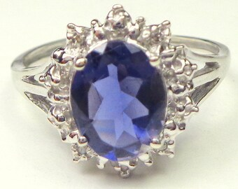 Sz 6.5, Solid 10K White Gold, 2ct. Genuine Blue Iolite,Sparkling Diamond Halo,Natural Gemstones,Sweetheart Gift,Engagement Ring,Promise Ring