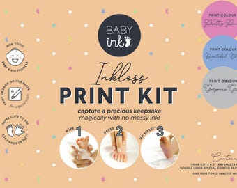 BABYink® Various Colour Ink-less Print Kit - Non-Toxic, Baby Safe - Handprint | Footprint | Keepsake  | Baby Gift  | Baby ink  | Print Kit