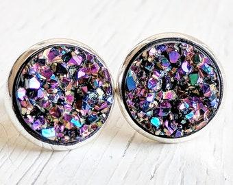 Ultra Violet on Silver, Hypoallergenic Studs, Druzy Studs, Dark Druzy Studs, Druzy Earrings, Purple Druzy, Blue Druzy, Metallic Earring