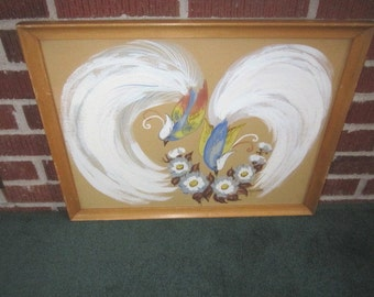 Vintage 1940s/50s Framed Original Gouache Painting of Bird with Elaborate White Tail Feathers