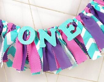 Mermaid First Birthday ONE banner - Pink, Purple and Aqua Birthday - Photoshoot Prop - Garland First Birthday Party Decor