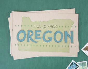 Hello From Oregon Postcards  //  Set of 6  // Travel Postcards