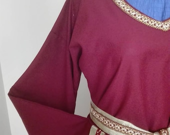 Burgundy and Gold Medieval Gown