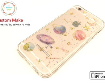 iPhone 6s / 6s+ / 7 / 7+ / 8 / 8+ / X Case, soft TPU resin, Luxury Bling, Sheer, glitter, sparkle, Star Earth Moon Saturn galaxy universe