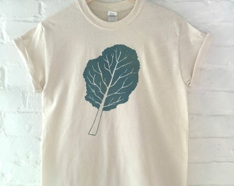 Kale T-Shirt, Food Shirt, Vegetable Shirt, Screen Printed T Shirt, Foodie Gift, Gardening Gift
