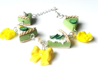 Lime Cake Bracelet ( cute bracelet polymer clay jewelry food bracelet miniature food gift for her green bracelet silver bracelet sweet )