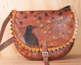 Leather Saddle Bag Crossbody Purse - Crow Hour with Crows and Leaves in Mahogany, Yellow, Orange, Green and Black - Handmade