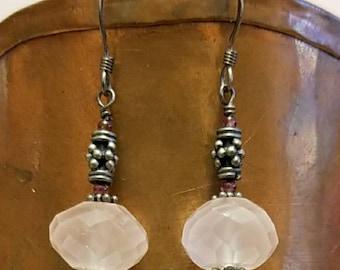 Sterling and rose quartz earrings