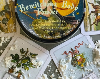 Bewitching Body Powder -Fall Must Have- Vintage Halloween Body Powder - Be Witched Magick Magic Body Powder Alluring