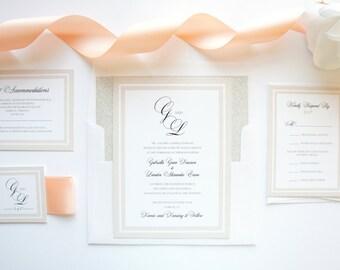 Blush Wedding Invitation, Peach Wedding Invitation, Beige, Tan, Taupe, Glitter Envelope Liner, Monogram Wedding Invitation - Deposit