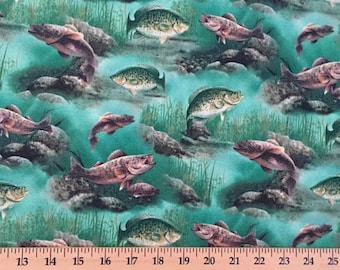 Fishing Fabric with Pond Fish By the Yard or Half Yard Hautman Underwater Scenic Fabric Cotton Quilting Fabric t4/38