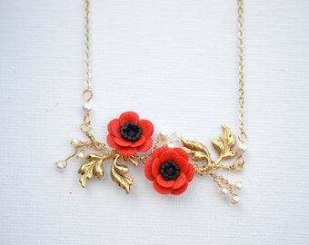 Red Anemone/Poppy and leaves vine Necklace.