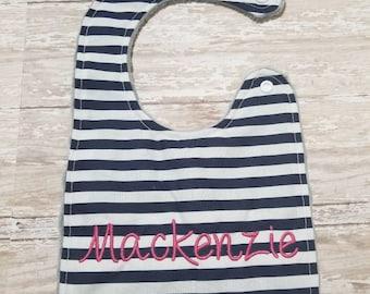 Baby Bib- Navy Blue and White Stripe Baby Bib, Personalized Baby Bib, Monogram Bib, Embroidered Baby Bib, Minky Baby Bib, Girl or Boy Bib