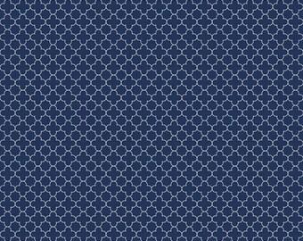 Mini Quatrefoil Fabric in navy  - Fabric by the yard