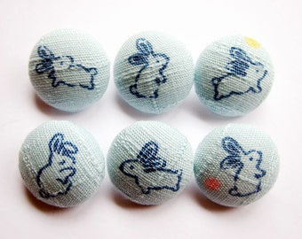 Sewing Buttons / Fabric Buttons - Rabbits - 6 Small Buttons
