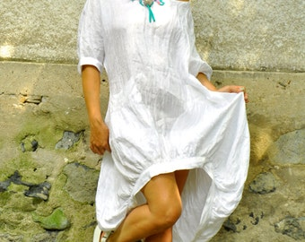 White 100% Linen Dress/Maxi Dress/White Linen Tunic/Simple Linen Casual Dress/White Shirt/Dress With Pockets/Maxi Loose Dress/D1498