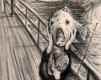 The SCREAM Funny Fish Pencil Parody Edvard Munch Drawing Art Print by Barry Singer