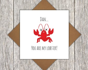 Personalised You're My Lobster Card - Love Card - Personalised Valentine's Day Card - Personalised Anniversary Card - Lobster Card