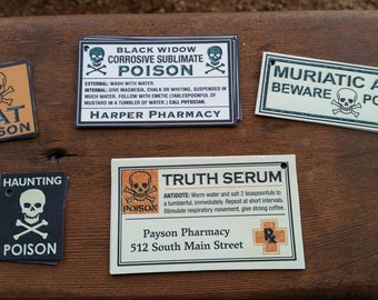15 halloween poison tags - truth serum, haunting poison, black widow glitter cardstock gift tag labels