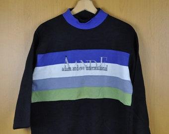Vintage Sweater Adam and Eve International Triple Design Men Women CLothing Nice Sweatshirt