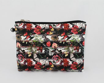 Butterfly Flowers Cosmetic Bag Makeup bag Zipper pouch Accessory bag Travel bag Pencil Case Toiletry bag Cosmetic Case