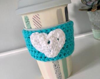 Reusable Coffee Sleeve, Coffee Cozy, Crochet Cozy, Heart Cup Sleeve, Coffee Cup Sleeve