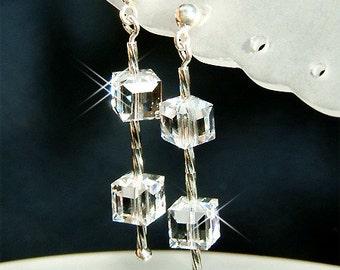Bridal Wedding jewellery CUBE Swarovski Crystal Stelring Silver Earrings Jewelry