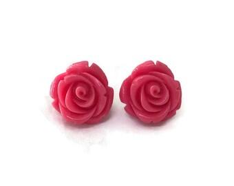 Hot Pink Rose Earrings, Medium Size, Resin Flower Studs, Vintage Style, Retro, Rockabilly, Pinup, Floral, Feminine