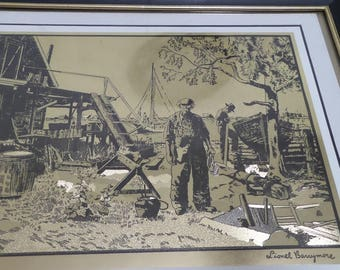 "Framed Gold Foil etching ""Point Mugu by Lionel Barrymore"