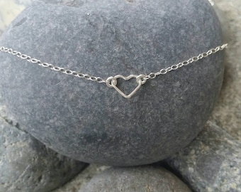 Tiny Silver Heart necklace, Tiny Heart, Sterling Silver, tiny necklace, tiny charm necklace, Dainty, Tiny Silver Necklace, Heart necklace
