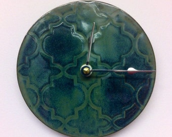 Quatrefoil patterned Ceramic Wall Clock in Smoky Blue