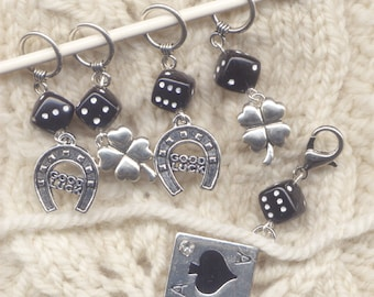 Good Luck Knitting Stitch Markers Ace in the Hole Set of 5 /SM76B