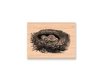 BIRD NEST Rubber Stamp~Two Styles~Birds Nests~Robin Nest~Bird Eggs~Baby Birds~Spring Nest~wood mounted ( sm 30-11)(lg 36-12)