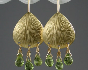 Gleaming Peridot and Gold Earrings