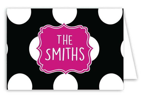 Personalized Dots Folded Note Cards - Set of 30 Monogram Notes