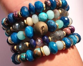 Boho Stack Bracelet, Boho Bracelet, Stacking Bracelet, Bohemian Bracelet, Gemstone Stack Bracelet, Chunky Blue Mystic Topaz Bracelet