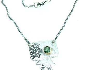 green tourmaline necklace . bohemian necklace jewellery . silver and gold necklace . sun star necklace by peaces of indigo